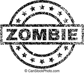 Scratched Textured ZOMBIE Stamp Seal