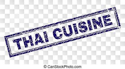 Scratched THAI CUISINE Rectangle Stamp - THAI CUISINE stamp...