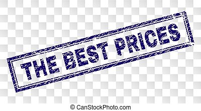 Scratched THE BEST PRICES Rectangle Stamp