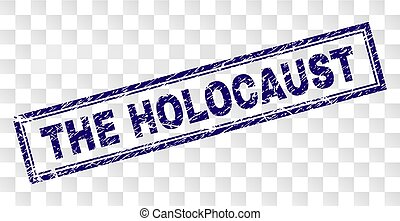 THE HOLOCAUST stamp seal imprint with rubber print style and double framed rectangle shape. Stamp is placed on a transparent background.