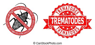Wire frame stop cockroach icon, and Trematodes corroded ribbon seal print. Red stamp seal contains Trematodes tag inside ribbon.Geometric wire frame 2D net based on stop cockroach icon,