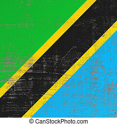 3d rendering of United Republic of Tanzania flag in a scratched surface