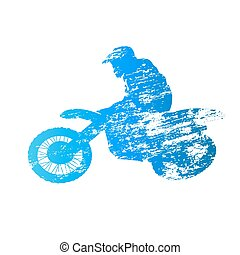 Scratched vector silhouette jumping motocross rider