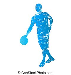 Scratched vector silhouette of basketball player