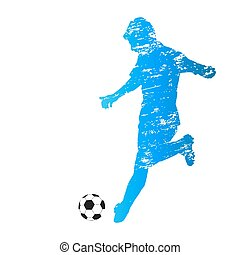 Scratched vector silhouette of running soccer player