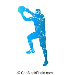Scratched vector silhouette of shooting basketball player