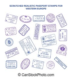 Scratched vector visa travel stamps isolated on white