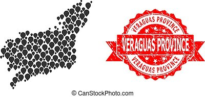 Scratched Veraguas Province Stamp and Pointer Mosaic Map of ...