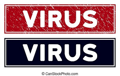 Scratched Virus Rectangle Stamp Seal