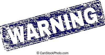 Scratched WARNING Framed Rounded Rectangle Stamp