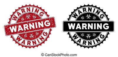 Scratched Warning Round Red Stamp Seal