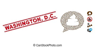 Scratched Washington, D.C. Line Stamp and Mosaic Shit Idea Balloon Icon