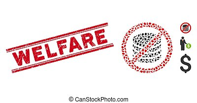 Scratched Welfare Line Stamp with Collage No Payment Icon