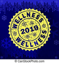 Scratched WELLNESS Stamp Seal on Winter Background