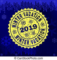 Scratched WINTER VACATION Stamp Seal on Winter Background