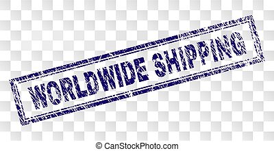 Scratched WORLDWIDE SHIPPING Rectangle Stamp