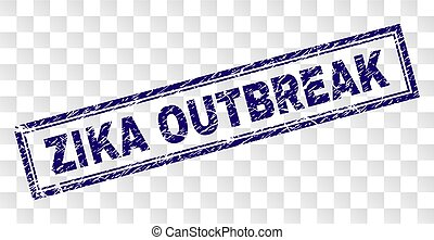 Scratched ZIKA OUTBREAK Rectangle Stamp