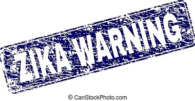 Scratched ZIKA WARNING Framed Rounded Rectangle Stamp