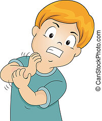 Scratching Boy - Illustration of a Little Kid Furiously...