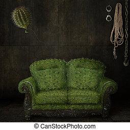 scratchy, soffa