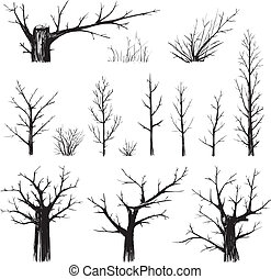 Sketchy set of freehand trees drawing. Vector EPS8 illustration.