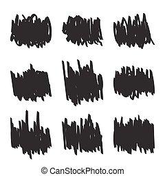 scrawl., felt-tip, conjunto, pluma, figuras, mano, dibujado