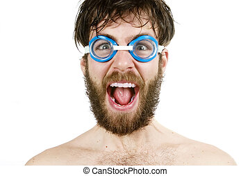 Scream - A humorous image of a young bearded male wearing...
