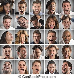 Scream collage - Portraits collage of people faces who...