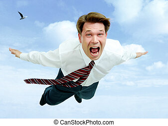 Scream - Conceptual image of young businessman shouting...