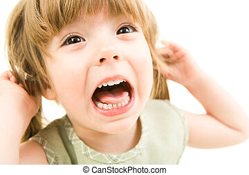 Scream - Image of young girl screaming on a white background...