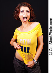Scream of active playful cute trendy woman