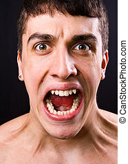 Scream of shocked and scared man