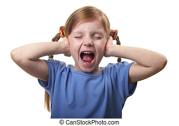 Screaming and ignoring - Little screaming girl with both ...