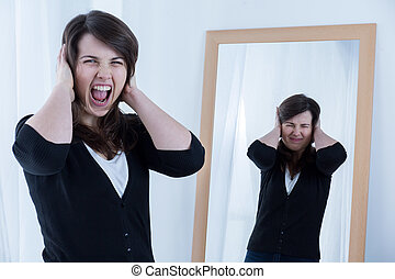 Screaming angry woman