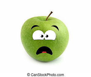 Screaming apple isolated over white background