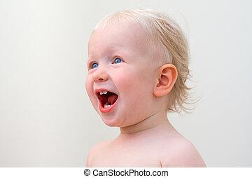 Screaming baby, closeup