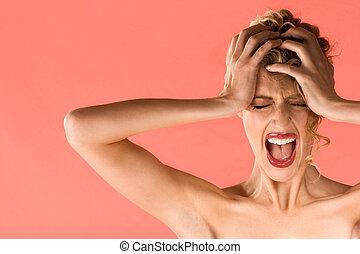 Screaming blond beautiful woman with shut eyes