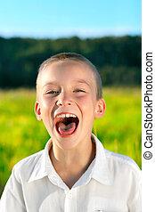 screaming boy - portrait of screaming boy outdoor