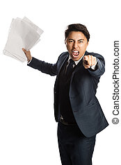 Screaming businessman with paper