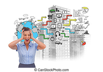 Screaming businesswoman standing in front of painted graphics and city on white background