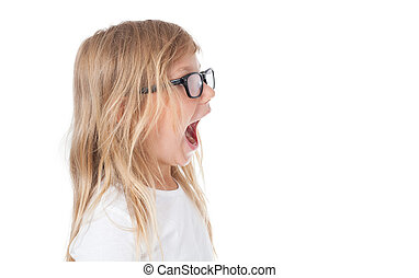 screaming child, child shout - studio isolated, girl