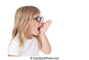 screaming child, child shout - studio isolated, girl