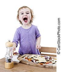 screaming child making fresh pizza