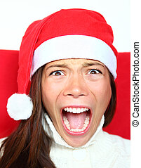 Screaming christmas woman with stress