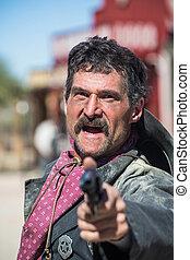 Screaming Cowboy Aims Gun at You