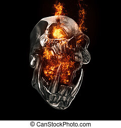 Screaming demon orc skull - flaming eyes and screaming fire