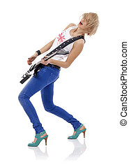 screaming girl with electric guitar