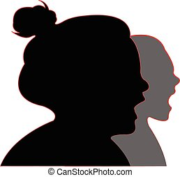 screaming girls silhouette vector