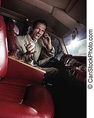 Screaming man in the car