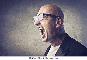 Screaming man - Stressed, bald man yelling